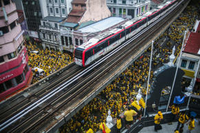 Malaysia's Bersih 5.0 supporters rally near the Independent Square during Bersih...