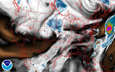 Satellite image showing water vapor across the continental US on Aug. 16, 2017.