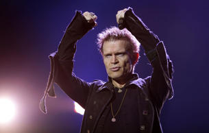 Billy Idol performing on stage at the Carling Academy Brixton in south London.