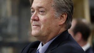 FILE - In this April 29, 2017, file photo, Steve Bannon, chief White House strategist to President Donald Trump is seen in Harrisburg, Pa. According to a source, Bannon is leaving White House post. (AP Photo/Carolyn Kaster, File)