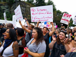 Counterprotesters respond to speakers during a march to the 'Boston Free Speech' rally on the Boston Common in Boston, Aug. 19, 2017.