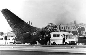 22nd August 1985:  Emergency services at work on the Boeing 737 which burst into flames during take-off at Manchester Airport.  Fifty-four people lost their lives on the holiday jet bound for Corfu, and there were 83 survivors.