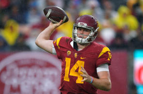 Southern California quarterback Sam Darnold passes during the first half of an NCAA college football game against Notre Dame, Saturday, Nov. 26, 2016, in Los Angeles.