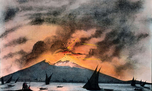 Slide 1 of 12: Image Caption: Lithograph showing Vesuvius in mid-eruption, with a diagram below explaining the connection between volcanoes and the interior of the Earth. Vesuvius is best known for its devastating eruption of 79 AD which buried the Roman towns of Pompeii and Herculaneum. The volcano erupted frequently in the 19th century, much to the fascination of scientists of the day, and remains potentially active today, although it has not erupted since 1944. Published by James Reynolds, 174 Strand, London, and printed by F Waller, Hatton Garden, London.