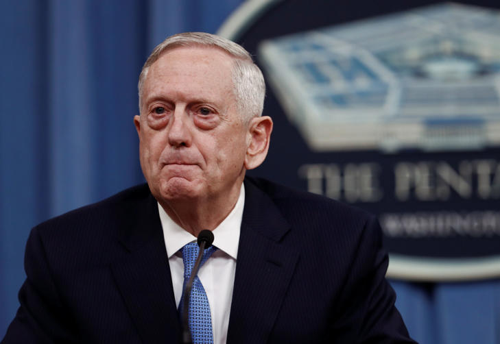 Defense Secretary Jim Mattis pauses during a news conference at the Pentagon.
