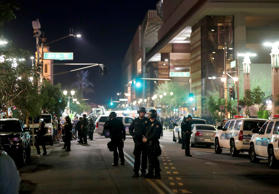 Phoenix police keep the streets clear as people protest outside the Phoenix Conv...