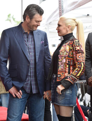 Blake Shelton and Gwen Stefani attend the ceremony honoring Adam Levine with star on the Hollywood Walk of Fame on February 10, 2017 in Hollywood, California.