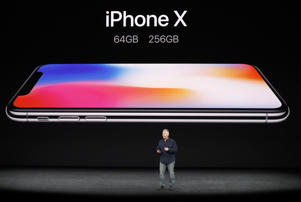Apple's Schiller introduces iPhone X during a launch event in Cupertino: Apple Senior Vice President of Worldwide Marketing, Phil Schiller, introduces the iPhone X.