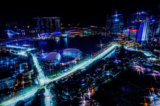 Slide 1 of 20: A general view of the Marina Bay racing track is seen during practice for the Singapore Formula One Grand Prix at Marina Bay Street Circuit.