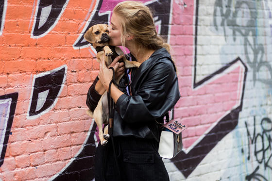 Slide 1 of 63: Model Nina Agdal with her dog seen in the streets of Manhattan outside Zadig & Voltaire during New York Fashion Week on September 11, 2017 in New York City.