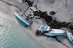 Damaged boats in Key West after Hurricane Irma hit the Florida Keys, on Wednesday, Sept. 13, 2017.
