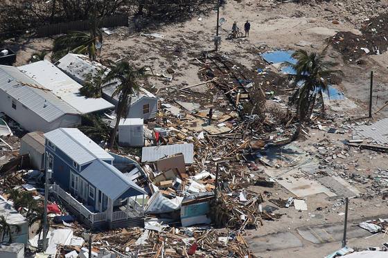 Slide 1 of 38: A destroyed trailer park is pictured in an aerial photo in the Keys in Marathon, Florida, U.S., September 13, 2017. REUTERS/Carlo Allegri