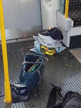 Slide 3 de 24: Imagem das redes sociais mostra o que seria o artefato que explodiu no metrô