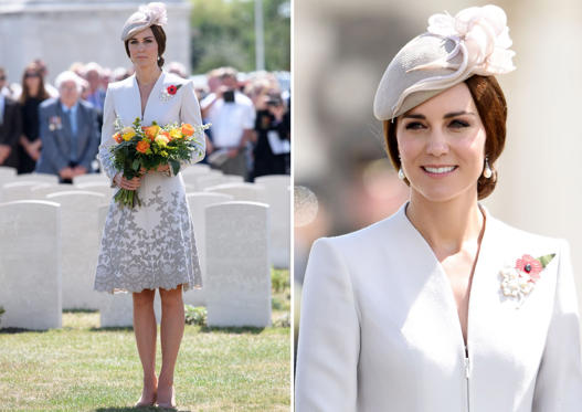 Slide 1 de 100: Britain's Princess Catherine is pictured at The Tyne Cot Commonwealth War Graves Cemetery in Zonnebeke on July 31, 2017, as part of a series of commemorations for the 100th anniversary of the Battle of Passchendaele.