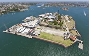 Aerial of Cockatoo Island, Port Jackson, Sydney, New South Wales, Australia, November 2010