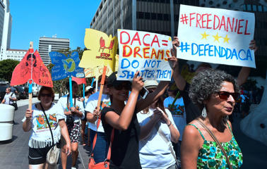 Young immigrants and supporters gather for a rally in support of Deferred Action for Childhood Arrivals (DACA) in Los Angeles, California on September 1, 2017.