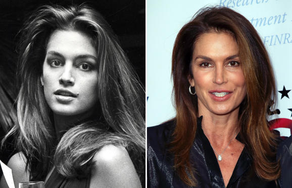 24 枚のスライドの 1 枚目: 'Hooray For Hollywood' AIDS Benefit - April 5, 1988 Cindy Crawford at the Bloomingdale's in New York City, New York (Photo by Ron Galella/WireImage); SANTA MONICA, CA - MAY 24: Model Cindy Crawford attends the 8th Annual 'Big Fighters, Big Cause' Charity Boxing Night at the Loews Santa Monica Beach Hotel on May 24, 2017 in Santa Monica, California. (Photo by David Livingston/Getty Images)