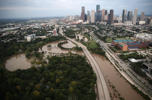 Flooding near downtown Houston following Hurricane Harvey August 30, 2017 in Houston, Texas.