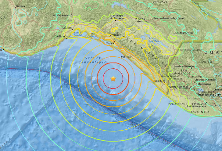 Magnitude 8.0 earthquake 135 km from Mapastepec, Chiapas, Mexico · 10:19 AM