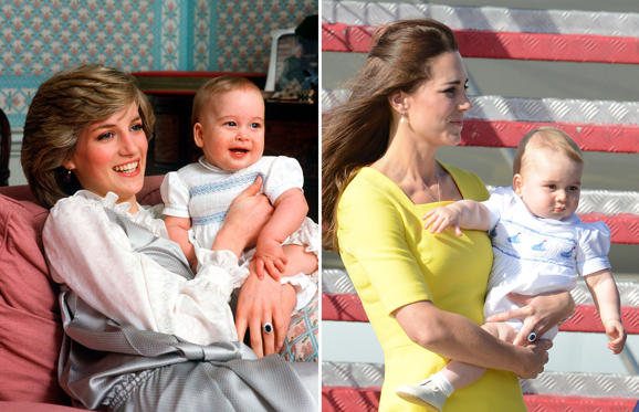Διαφάνεια 2 από 11: LONDON, UNITED KINGDOM - FEBRUARY 01: Princess Diana Holding Her Baby Son, Prince William, At Kensington Palace. (Photo by Tim Graham/Getty Images); The Duke And Duchess Of Cambridge With Prince George Arrive In Sydney Australia On The Second Leg Of Their Royal Tour. 16 Apr 2014
