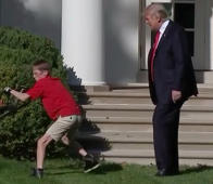 Trump greets 11-year-old mowing White House lawn