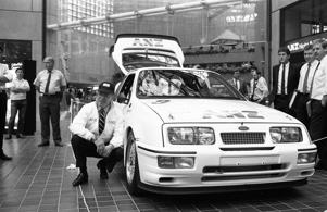 Allan Moffat, the Canadian-Australian racing driver who won the Bathurst 500/1000 four times, with his Ford Sierra on April 15, 1988, in Melbourne, Australia.