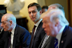 White House senior advisor Jared Kushner (C) looks on as U.S. President Donald Trump (R) delivers remarks before meeting with Spain's Prime Minister Mariano Rajoy and his delegation at the White House in Washington, U.S. September 26, 2017.