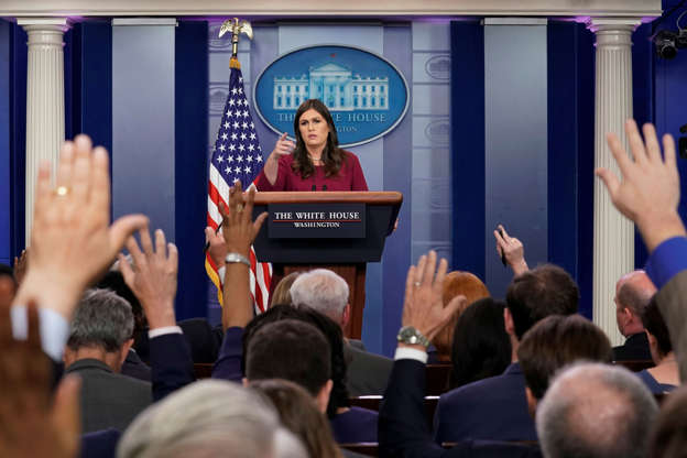 White House Press Secretary Sarah Huckabee Sanders speaks during a news briefing at the White House in Washington, U.S., October 5, 2017.
