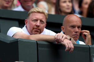 Boris Becker, coach of Serbia's Novak Djokovic in the players box