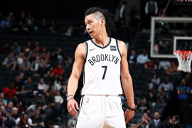 Jeremy Lin #7 of the Brooklyn Nets looks on during the game against the Miami Heat during a preseason game on October 5, 2017 at Barclays Center in Brooklyn, New York.