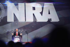 LOUISVILLE, KY - MAY 20: Then-Republican presidential candidate Donald Trump speaks at the National Rifle Association's NRA-ILA Leadership Forum during the NRA Convention at the Kentucky Exposition Center on May 20, 2016 in Louisville, Kentucky. The NRA endorsed Trump at the convention.
