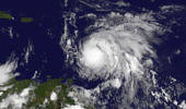 This Sunday, Sept. 17, 2017, GOES East satellite image provided by NASA taken at 7:45 p.m EDT, shows Hurricane Maria as it approaches the Lesser Antilles. Maria swiftly grew into a hurricane Sunday, and forecasters said it was expected to become much stronger over the coming hours following a path that would take it near many of the islands wrecked by Hurricane Irma and then on toward Puerto Rico, the Dominican Republic and Haiti.