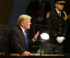 United States President Donald Trump speaks during the United Nations General As...