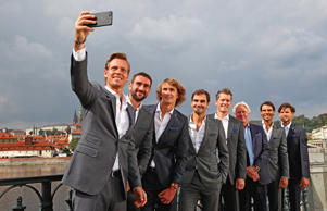 Thomas Berdych, Marin Cilic, Alexander Zverev, Rodger Ferderer, Thomas Enqvist, Bjorn Bjorg, Rafael Nadal and Dominic Thiem of Team Europe pose for a selfie during a photoshoot ahead of the Laver Cup on September 20, 2017 in Prague, Czech Republic. The Laver Cup consists of six European players competing against their counterparts from the rest of the World. Europe will be captained by Bjorn Borg and John McEnroe will captain the Rest of the World team. The event runs from 22-24 September.
