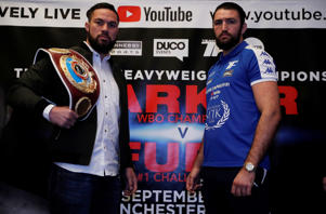 Joseph Parker and Hughie Fury pose during a press conference on September 18, 2017.