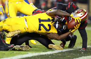 Sammy Watkins (12) of the Rams stretches the ball across the goal line for a touchdown against the 49ers on Sept. 21 in Santa Clara, CA. The Rams won 41-39.