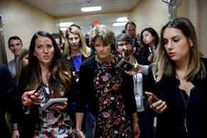 Sen. Lisa Murkowski (R-AK) speaks with reporters ahead of the party luncheons on...