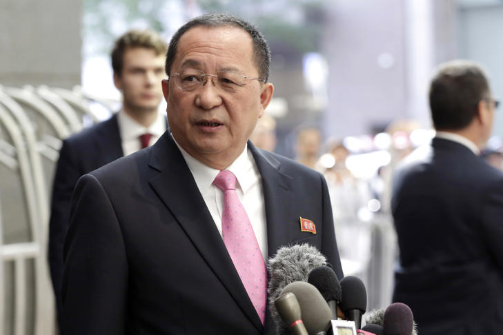 North Korea's Foreign Minister Ri Yong Ho speaks outside the U.N. Plaza Hotel, in New York, Monday, Sept. 25, 2017.