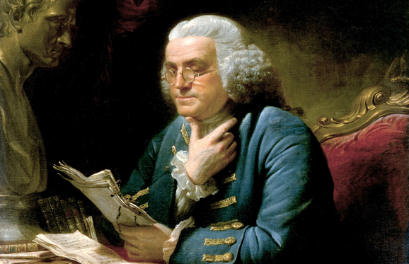 Slide 1 of 12: Portrait of Benjamin Franklin by David Martin (oil on canvas on panel from the White House collection, Washington DC), 1767. (Photo by GraphicaArtis/Getty Images)