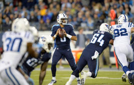 Tennessee Titans quarterback Marcus Mariota (8) passes against the Indianapolis Colts in the first half of an NFL football game Monday, Oct. 16, 2017, in Nashville, Tenn.