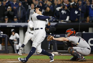 New York Yankees' Aaron Judge hits a three-run home run during the fourth inning of Game 3 of baseball's American League Championship Series against the Houston Astros Monday, Oct. 16, 2017, in New York.