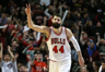 Chicago Bulls forward Nikola Mirotic celebrates his two points during the final seconds of a game against the Indiana Pacers at the United Center in Chicago on December 26, 2016.