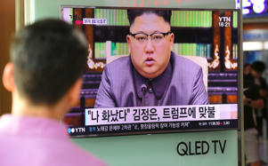"<span style=""font-size:13px;"">A man in Seoul, South Korea, watches a television news screen showing a picture of North Korean leader Kim Jong Un delivering a statement in Pyongyang, on Sept. 22, 2017.</span>"