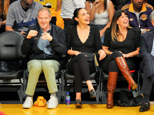 Slide 1 of 79: LOS ANGELES, CA - OCTOBER 19:  Actress Gal Gadot (2nd from left) and director Patty Jenkins attend a basketball game between the Los Angeles Lakers and the Los Angeles Clippers at Staples Center on October 19, 2017 in Los Angeles, California.  (Photo by Allen Berezovsky/Getty Images)