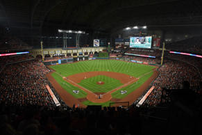 A general view of Minute Maid Park during Game 6 of the American League Championship Series between the New York Yankees and the Houston Astros on Friday, Oct. 20, 2017 in Houston.