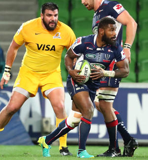 Marika Koroibete of the Rebels runs with the ball during the round 17 Super Rugby match.
