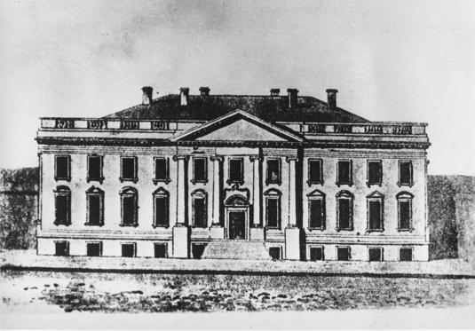 Slide 1 of 8: This is a drawing of the first White House designed by architect James Hoban, who won the competition to design the presiden't new house in 1792.