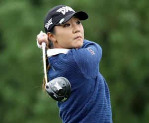 Lydia Ko of New Zealand plays a tee shot on the 2nd hole during the first round of the LPGA KEB Hana Bank Championship in Incheon, South Korea.