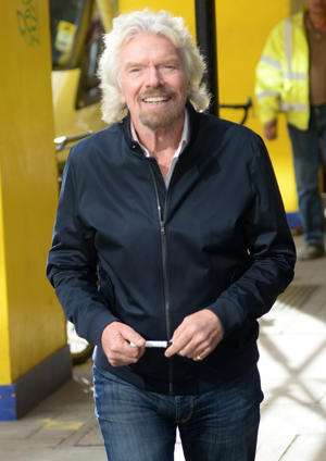 Richard Branson arrives at The Kiss FM Studios on October 12, 2017 in London, England.