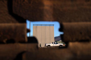 Picture of a prototype of US President Donald Trump's US-Mexico border wall being built near San Diego, in the US, as seen from across the border from Tijuana, Mexico, on October 5, 2017. Following up on President Donald Trump's campaign promise to build a wall along the entire 3,200 kilometre (2,000 mile) Mexican frontier, the Department of Homeland Security began building prototypes for the barrier along the border in San Diego and Imperial counties, as it announced in August. / AFP PHOTO / GUILLERMO ARIAS        (Photo credit should read GUILLERMO ARIAS/AFP/Getty Images)